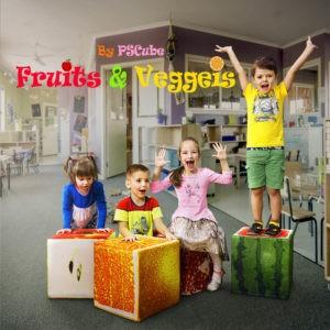 kids on fruit cubes